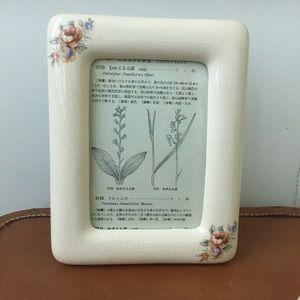 Vtg NIB Ceramic Photo Frame Shabby Cottage Chic